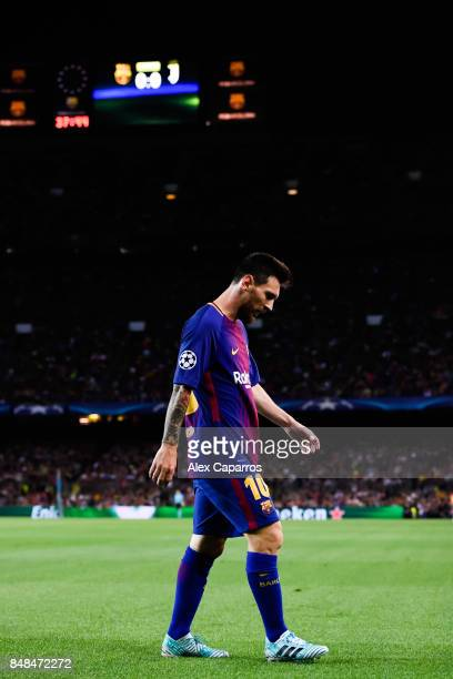 Lionel Messi of FC Barcelona looks down during the UEFA Champions League group D match between FC Barcelona and Juventus at Camp Nou on September 12...