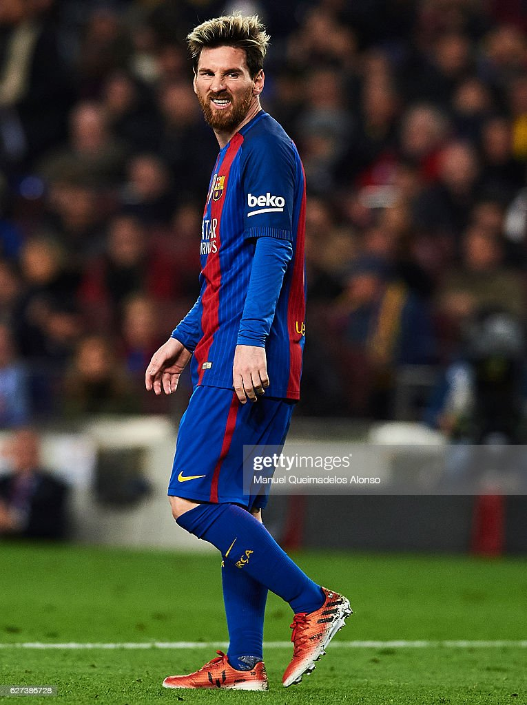 Lionel Messi of FC Barcelona looks on during La Liga match between FC Barcelona and Real Madrid CF at Camp Nou Stadium on December 3 2016 in...