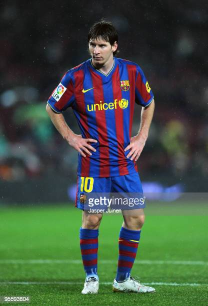 Lionel Messi of FC Barcelona looks on during the 1/8 final Copa del Rey match between Barcelona and Sevilla at the Camp Nou stadium on January 5 2010...