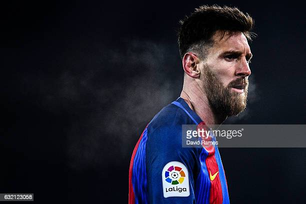 Lionel Messi of FC Barcelona looks on during the Copa del Rey quarterfinal first leg match between Real Sociedad and FC Barcelona at Anoeta stadium...