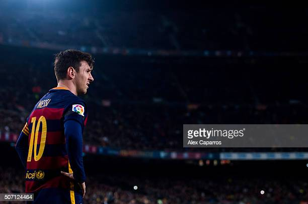 Lionel Messi of FC Barcelona looks on during the Copa del Rey Quarter Final Second Leg between FC Barcelona and Athletic Club at Camp Nou stadium on...