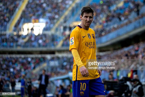 Lionel Messi of FC Barcelona looks on during the La Liga match between Malaga CF and FC Barcelona at La Rosaleda Stadium on January 23 2016 in Malaga...