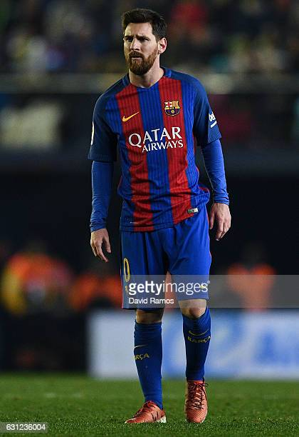 Lionel Messi of FC Barcelona looks on during the La Liga match between Villarreal CF and FC Barcelona at Estadio de la Ceramica stadium on January 8...