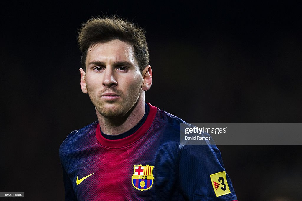 Lionel Messi of FC Barcelona looks on during the La Liga match between FC Barcelona and RCD Espanyol at Camp Nou on January 6, 2013 in Barcelona, Spain.