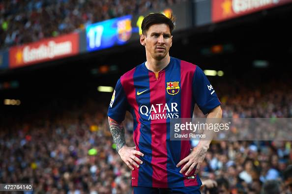 Lionel Messi of FC Barcelona looks on during the La Liga match between FC Barcelona and Real Sociedad de Futbol at Camp Nou on May 9 2015 in...
