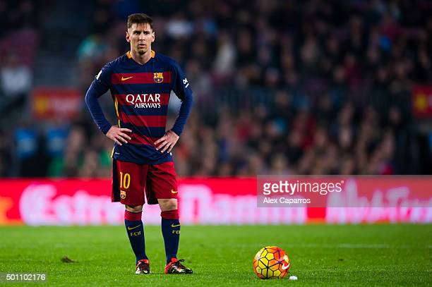 Lionel Messi of FC Barcelona looks on during the La Liga match between FC Barcelona and RC Deportivo La Coruna at Camp Nou on December 12 2015 in...