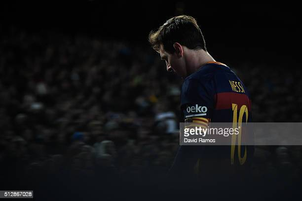 Lionel Messi of FC Barcelona looks on during the La Liga match between FC Barcelona and Sevilla FC at Camp Nou on February 28 2016 in Barcelona Spain