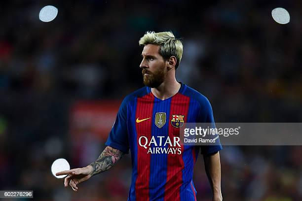 Lionel Messi of FC Barcelona looks on during the La Liga match between FC Barcelona and Deportivo Alaves at Camp Nou stadium on September 10 2016 in...