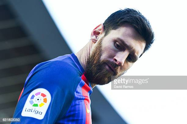 Lionel Messi of FC Barcelona looks on during the La Liga match between FC Barcelona and UD Las Palmas at Camp Nou stadium on January 14 2017 in...