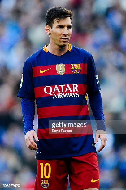 Lionel Messi of FC Barcelona looks on during the La Liga match between RCD Espanyol and FC Barcelona at CornellaEl Prat Stadium on January 2 2016 in...