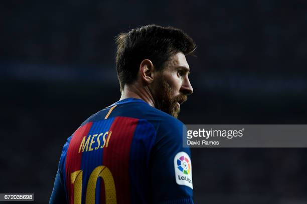 Lionel Messi of FC Barcelona looks on during the La Liga match between Real Madrid CF and FC Barcelona at the Santiago Bernabeu stadium on April 23...