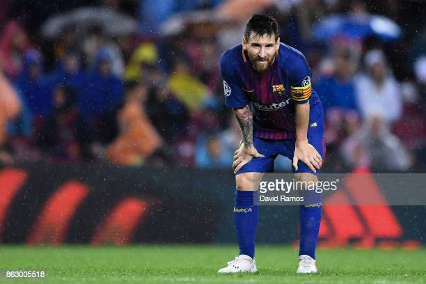 Lionel Messi of FC Barcelona looks on during the UEFA Champions League group D match between FC Barcelona and Olympiakos Piraeus at Camp Nou on...