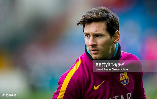 Lionel Messi of FC Barcelona looks on prior to the start the La Liga match between SD Eibar and FC Barcelona at Ipurua Municipal Stadium on March 6...