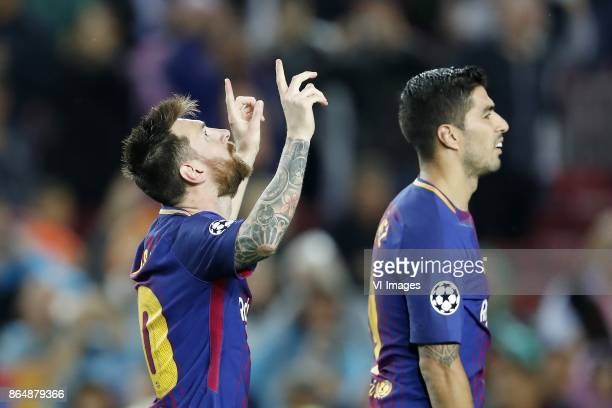 Lionel Messi of FC Barcelona Luis Suarez of FC Barcelona during the UEFA Champions League group D match between FC Barcelona and Olympiacos on...
