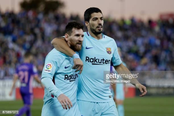 Lionel Messi of FC Barcelona Luis Suarez of FC Barcelona during the Spanish Primera Division match between Leganes v FC Barcelona at the Estadio...