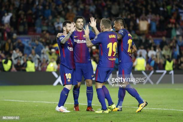 Lionel Messi of FC Barcelona Luis Suarez of FC Barcelona Lucas Digne of FC Barcelona Paulinho of FC Barcelona during the UEFA Champions League group...