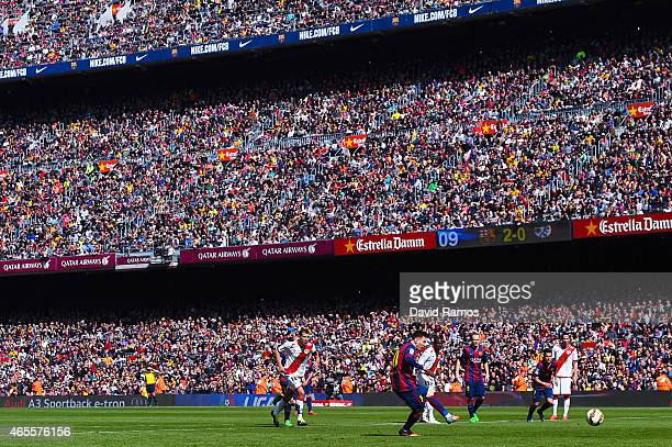Lionel Messi of FC Barcelona misses a penalty during the La Liga match between FC Barcelona and Rayo Vallecano de Madrid at Camp Nou on March 8 2015...