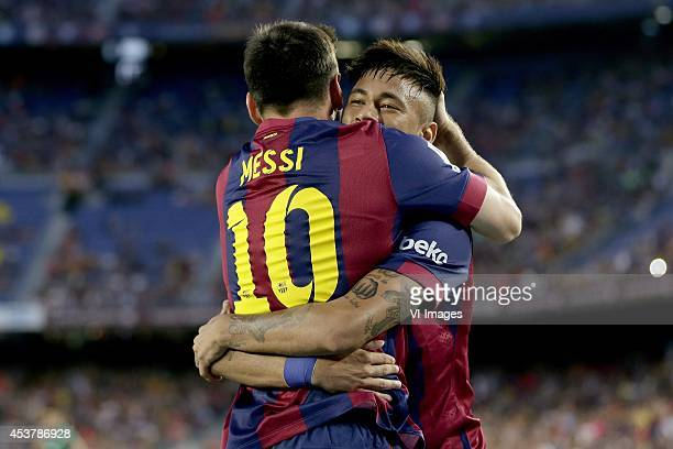 Lionel Messi of FC Barcelona Neymar da Silva Santos Junior Jr of FC Barcelona during the Joan Gamper Trophy match between FC Barcelona and Leon FC at...