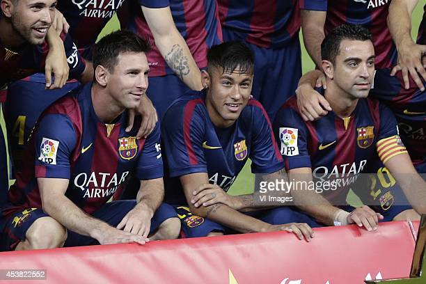 Lionel Messi of FC Barcelona Neymar da Silva Santos Junior Jr of FC Barcelona Xavier Hernandez Creus Xavi of FC Barcelona during the Joan Gamper...