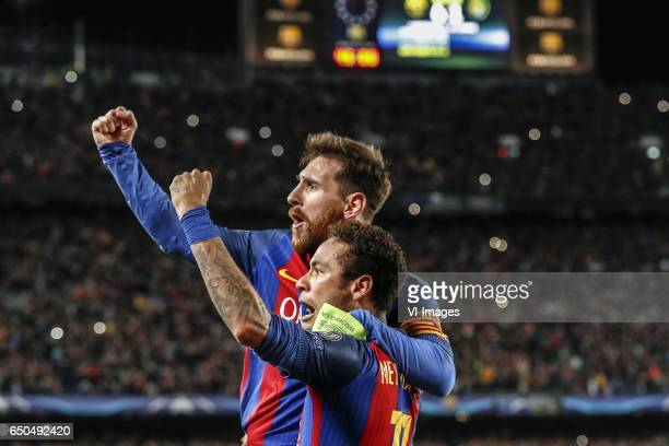 Lionel Messi of FC Barcelona Neymar of FC Barcelonaduring the UEFA Champions League round of 16 match between FC Barcelona and Paris Saint Germain on...