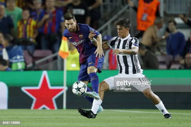 Lionel Messi of FC Barcelona Paulo Dybala of Juventus FC during the UEFA Champions League group D match between FC Barcelona and Juventus FC on...