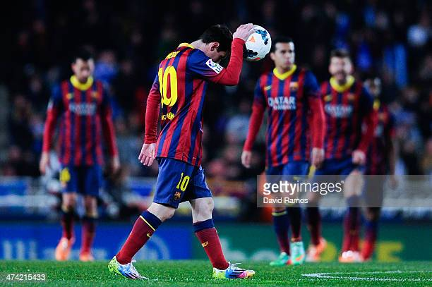 Lionel Messi of FC Barcelona reacts after Gorka Elustondo Urkola of Real Sociedad scored the opening goal during the La Liga match between Real...