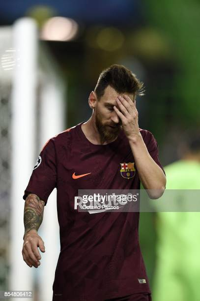 Lionel Messi of FC Barcelona reacts after missing a goal opportunity during the UEFA Champions League group D match between Sporting CP and FC...