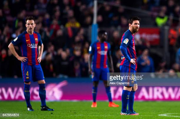 Lionel Messi of FC Barcelona reacts after Unai Lopez of CD Leganes scored his team's first goal during the La Liga match between FC Barcelona and CD...