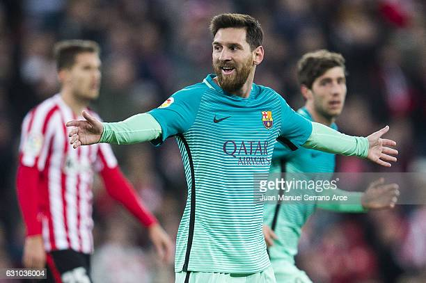 Lionel Messi of FC Barcelona reacts during the Copa del Rey Round of 16 first leg match between Athletic Club and FC Barcelona at San Mames Stadium...