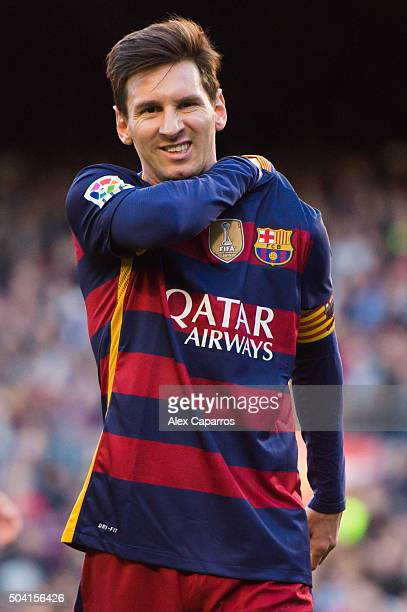 Lionel Messi of FC Barcelona reacts during the La Liga match between FC Barcelona and Granada CF at Camp Nou on January 9 2016 in Barcelona Spain