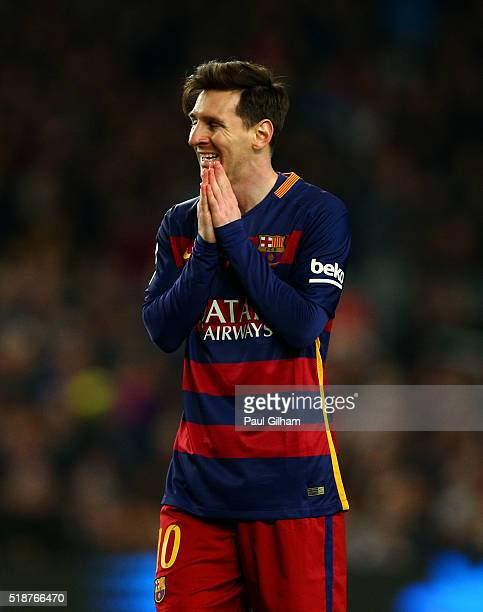 Lionel Messi of FC Barcelona reacts during the La Liga match between FC Barcelona and Real Madrid CF at Camp Nou on April 2 2016 in Barcelona Spain