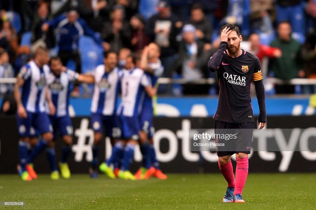 Lionel Messi of FC Barcelona reacts during the La Liga match between RC Deportivo La Coruna and FC Barcelona at Riazor Stadium on March 12, 2017 in La Coruna, Spain.