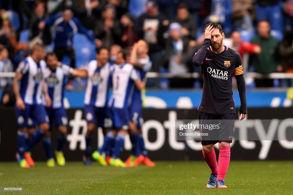Lionel Messi of FC Barcelona reacts during the La Liga match between RC Deportivo La Coruna and FC Barcelona at Riazor Stadium on March 12, 2017 in La Coruna, Spain.