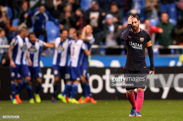 Lionel Messi of FC Barcelona reacts during the La Liga match between RC Deportivo La Coruna and FC Barcelona at Riazor Stadium on March 12 2017 in La...