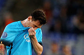 Lionel Messi of FC Barcelona reacts during the UEFA Champions League Group E match between AS Roma and FC Barcelona at Stadio Olimpico on September...