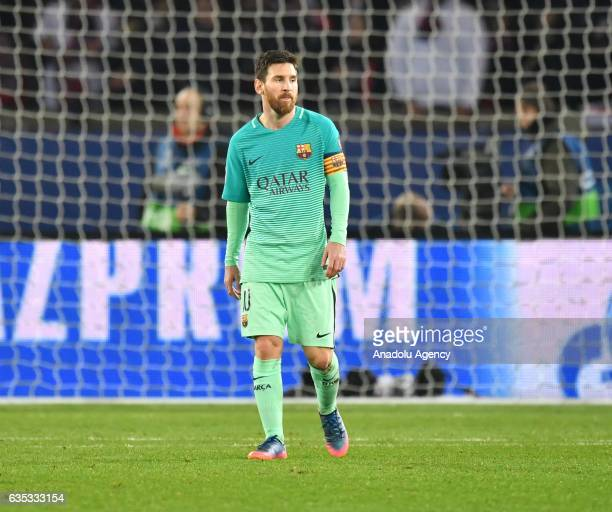 Lionel Messi of FC Barcelona reacts during the UEFA Champions League round of 16 match between Paris SaintGermain and FC Barcelona at Parc des...