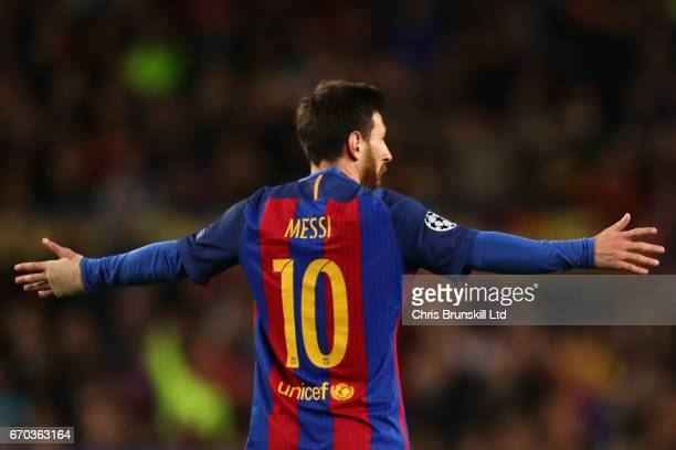 Lionel Messi of FC Barcelona reacts during the UEFA Champions League Quarter Final second leg match between FC Barcelona and Juventus at Camp Nou on...