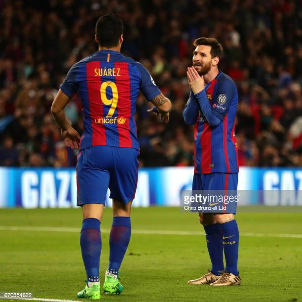 Lionel Messi of FC Barcelona reacts to teammate Luis Suarez during the UEFA Champions League Quarter Final second leg match between FC Barcelona and...