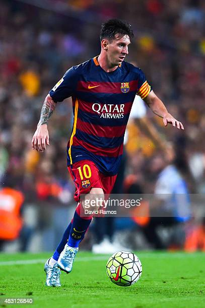 Lionel Messi of FC Barcelona runs with the ball during the Joan Gamper trophy match at Camp Nou on August 5 2015 in Barcelona Spain