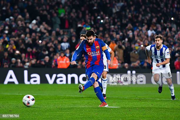 Lionel Messi of FC Barcelona scores from the penalty spot his team's second goal during the Copa del Rey quarterfinal second leg match between FC...