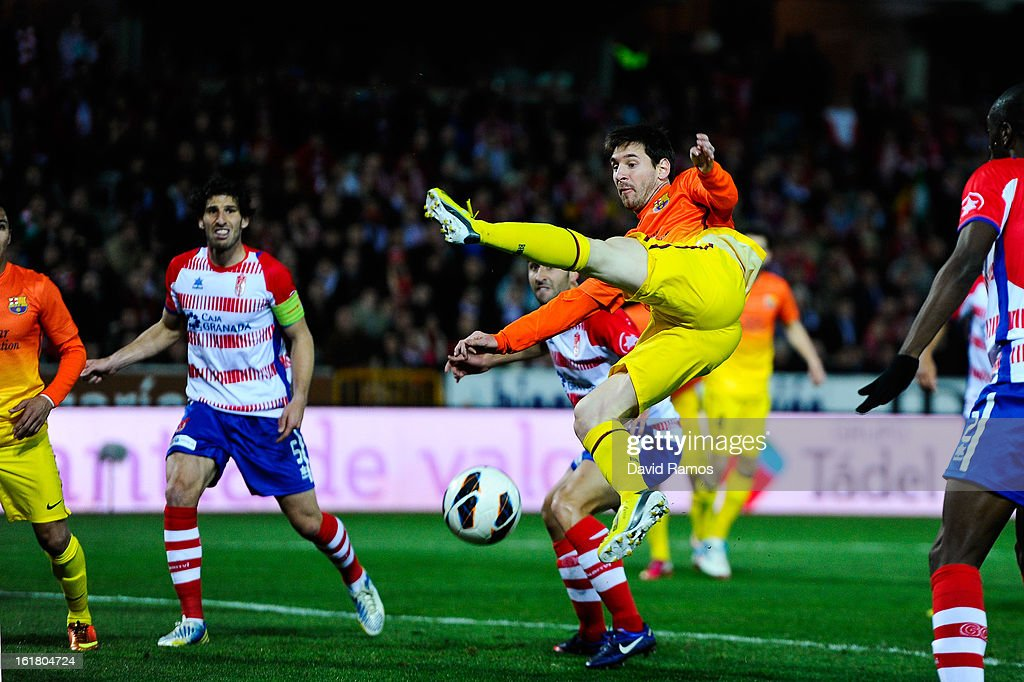 <a gi-track='captionPersonalityLinkClicked' href=/galleries/search?phrase=Lionel+Messi&family=editorial&specificpeople=453305 ng-click='$event.stopPropagation()'>Lionel Messi</a> of FC Barcelona shoots towards goal during the La Liga match between Granada CF and FC Barcelona at Estadio Nuevo Los Carmenes on February 16, 2013 in Granada, Spain.