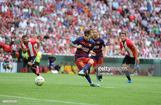 Lionel Messi of FC Barcelona takes a penlty kick during the La Liga match between Athletic Club and FC Barcelona at San Mames Stadium on August 23...