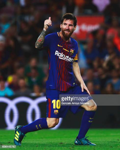 Lionel Messi of FC Barcelona thumbs up during the La Liga match between FC Barcelona and Real Betis Balompie at Camp Nou stadium on August 20 2017 in...