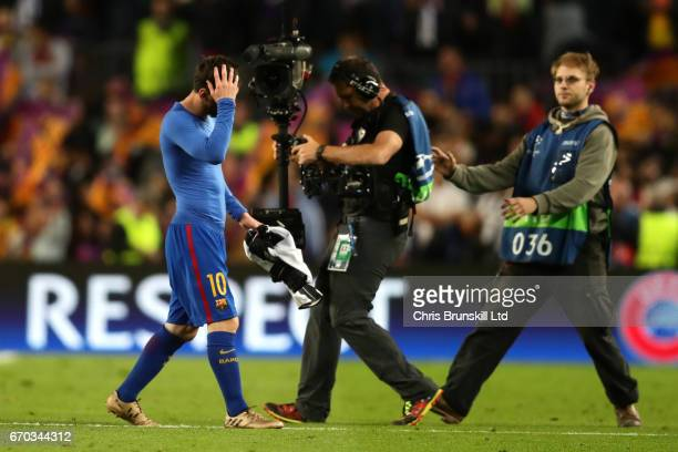 Lionel Messi of FC Barcelona walks off at the end of the UEFA Champions League Quarter Final second leg match between FC Barcelona and Juventus at...