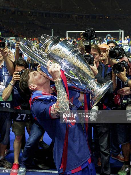 Lionel Messi of FC Barcelona with Champions League trophy during the UEFA Champions League final match between Barcelona and Juventus on June 6 2015...