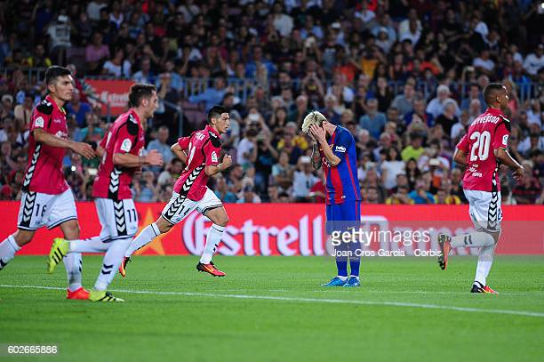 Lionel Messi of FCBarcelona reacts after a missed opportunity during the Spanish League match between FC Barcelona vs Deportivo Alavés at Nou Camp on...