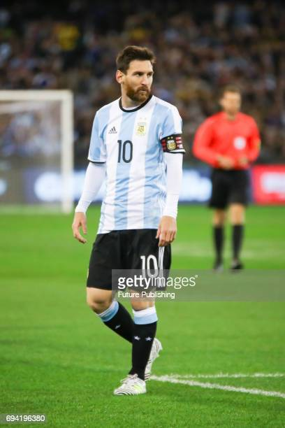 Lionel Messi playing as Brazil plays Argentina in the Chevrolet Brasil Global Tour on June 9 2017 in Melbourne Australia Chris Putnam / Barcroft...