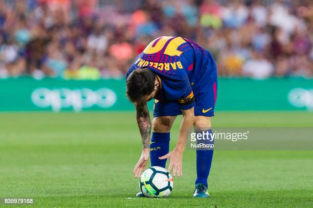Lionel Messi with the name of barcelona shirt instead of his during the match between FC Barcelona vs Real Betis Balompie for the round 1 of the Liga...
