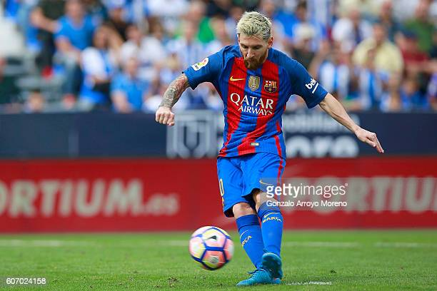 Lionel Messin of FC Barcelona scores their fourth goal from a penalty shot during the La Liga match between Deportivo Leganes and FC Barcelona at...