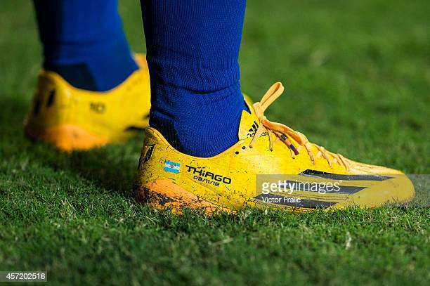 Lionel Messi's boots pictured during the International Friendly Match between Hong Kong and Argentina at the Hong Kong Stadium on October 14 2014 in...